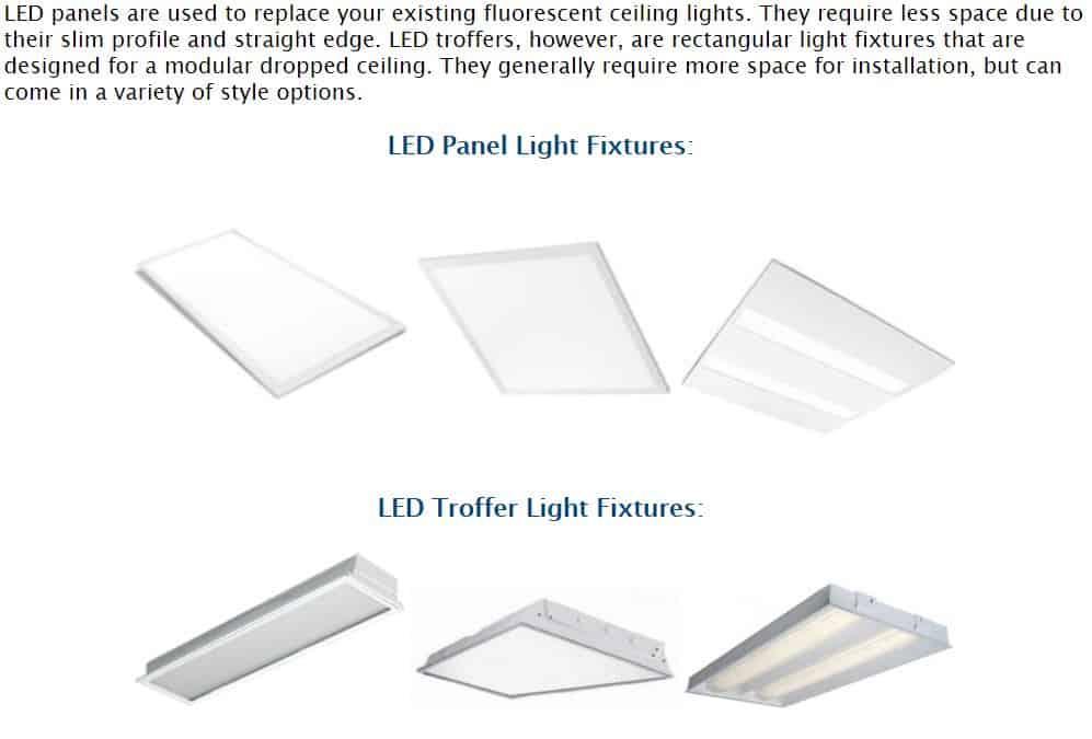 LED panel light fixtures