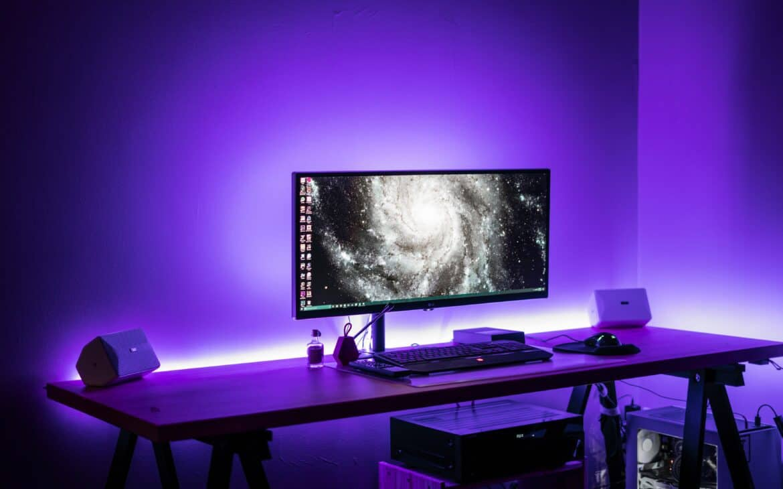 Black light setup in a room