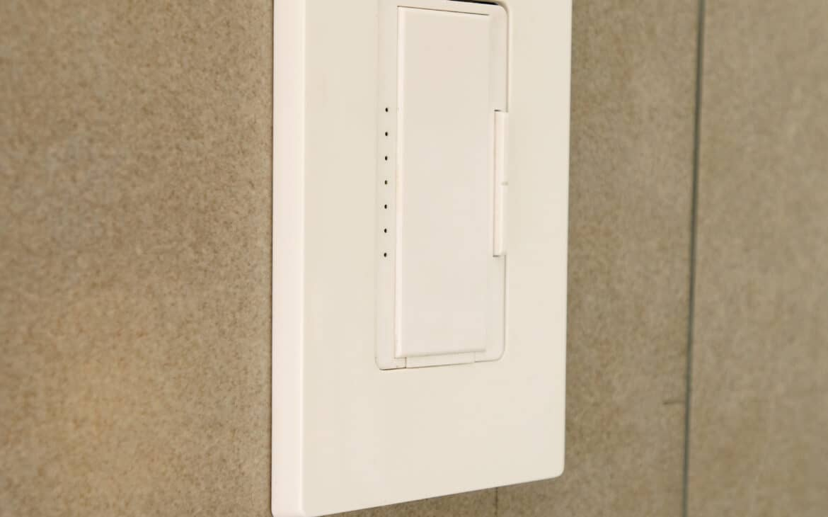 Z wave light switch on wall of bathroom
