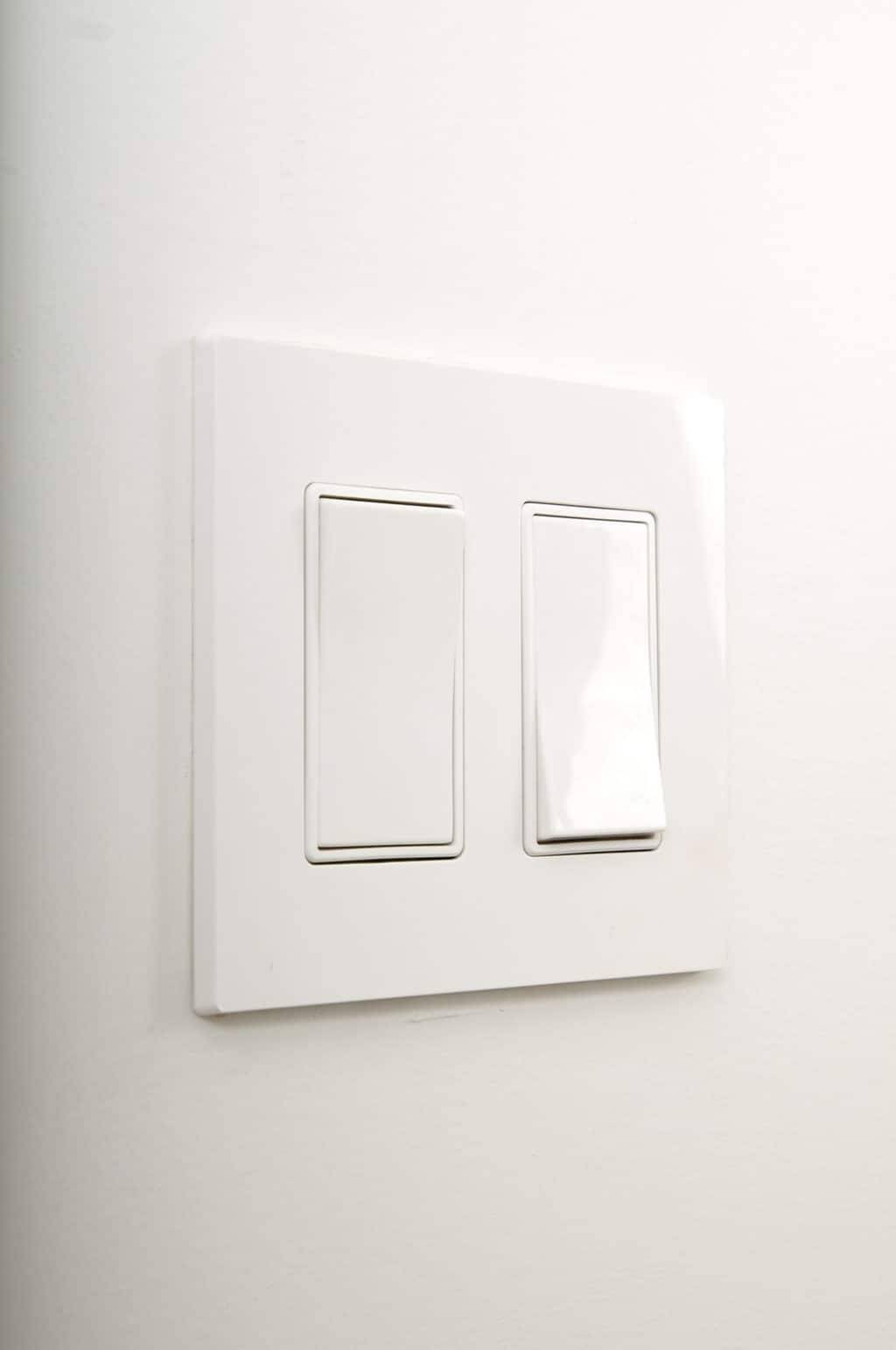 Light switches on wall