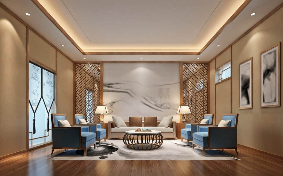 Living area with dimmable LED recessed lights