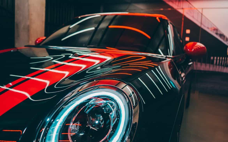 Car with LED strip lights