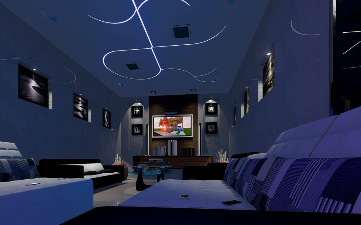 Entertainment room with LED lights