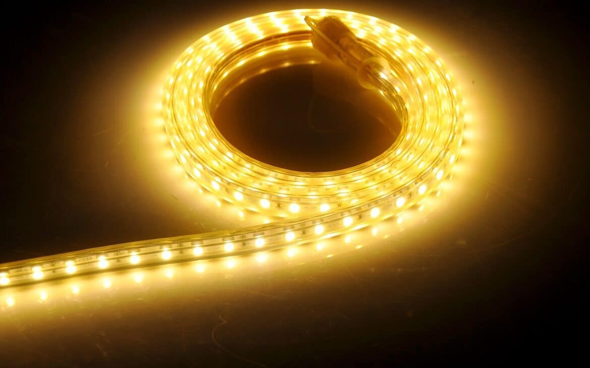 A roll of amber-colored led strip light