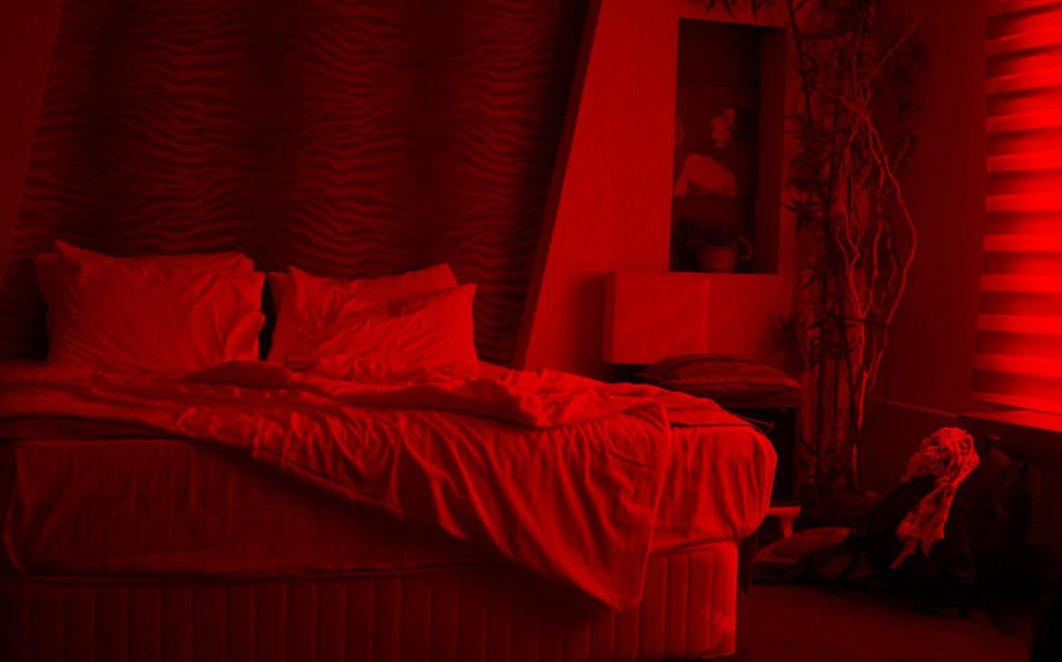 Bedroom with red lighting