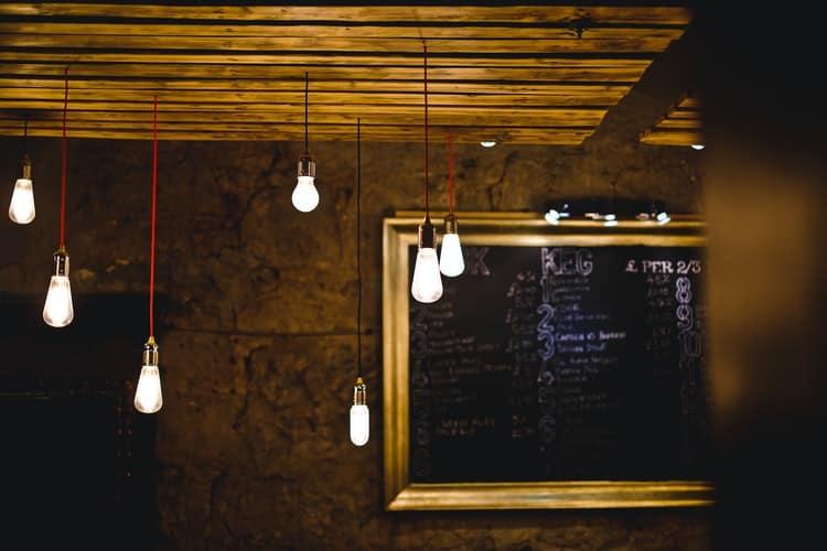 LED lights hanging on a ceiling