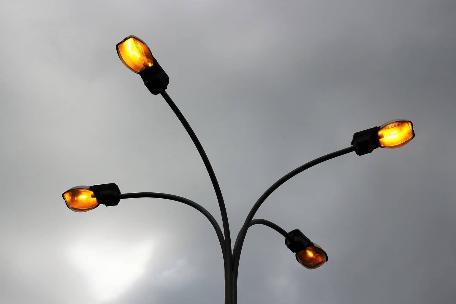 Outdoor LED lamp lights working with photocells