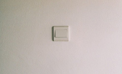 Dimmer switch on a wall
