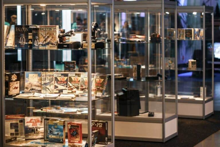 Illuminated display cases containing video games