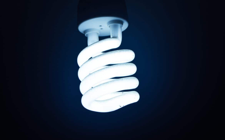 A LED bulb blue light