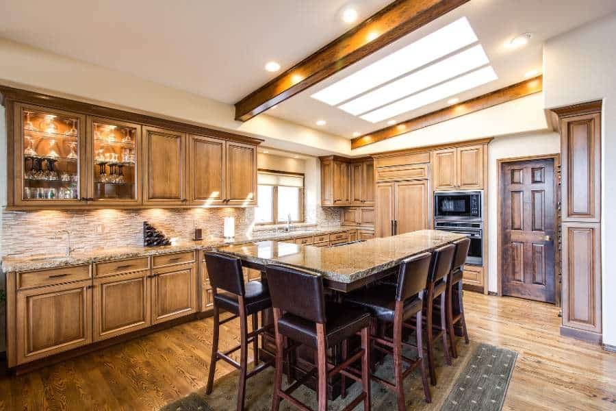 Kitchen with flat led panel lights