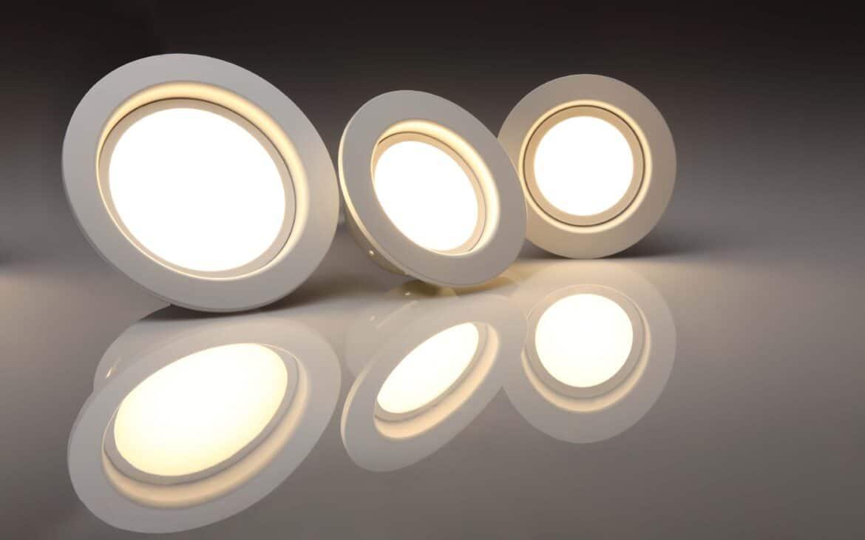 Three LED lights on display