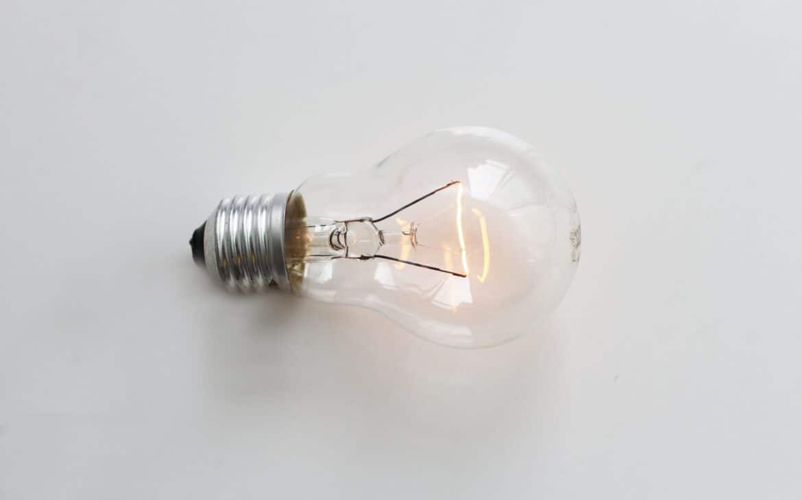 A removed LED bulb while glowing orange light