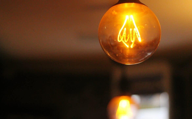 A bright LED bulb glowing in orange light