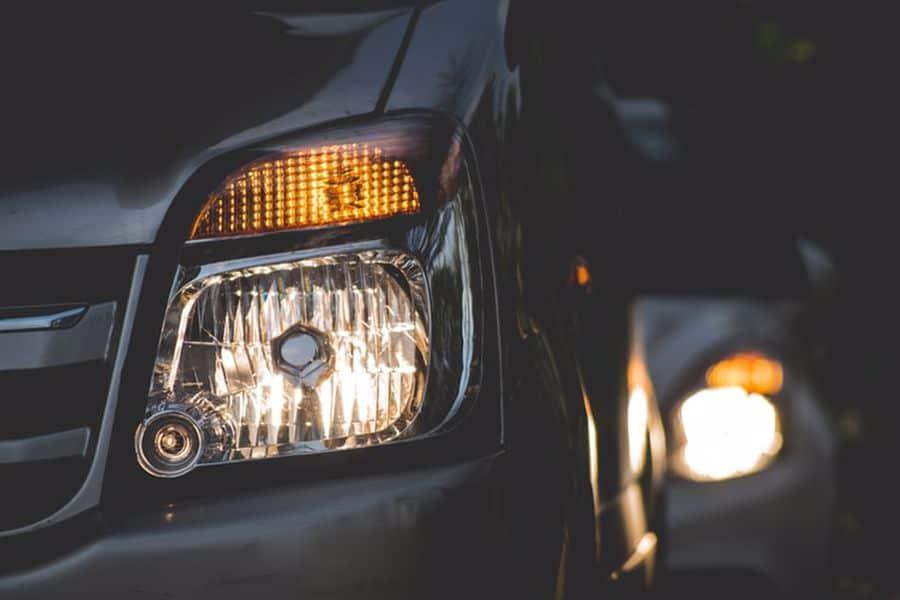 Car with flickering headlights
