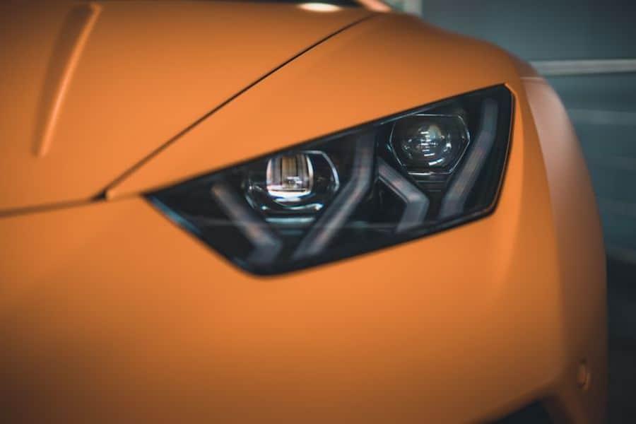 Close up of a car's headlights